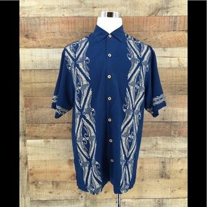 TOMMY BAHAMA 100% SILK Bird Blue HAWAIIAN SHIRT